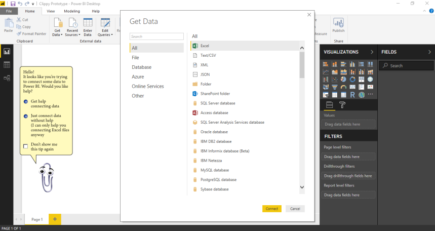 Clippy can help you add data to Power BI