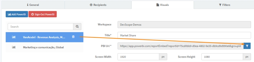 Filter report data from Power BI reports