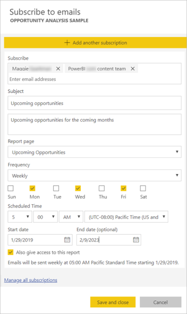 Power BI subscription pane